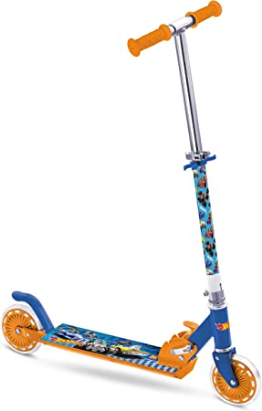Mondo- Hot Wheels Patinete de 2 Ruedas – Plegable – Manillar Ajustable – niño – a Partir de 5 años, Color Azul y Naranja, Hauteur MAX guidon : 79cm ...