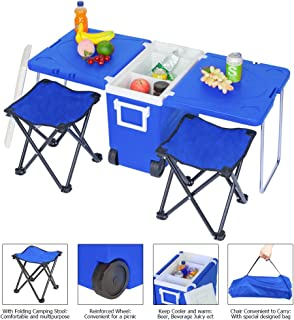 HomVent Outdoor Picnic Foldable Multi-Function Rolling Cooler Upgraded Stool Blue