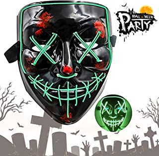 Halloween LED Purge Mask Light Up Cosplay Frightening EL Wire Scary Mask for Happy Halloween Festival Cosplay Parties Costume