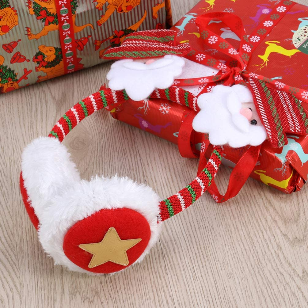 NUOBESTY 3Pcs Christmas Earmuffs Plush Snowman Santa Reindeer Earmuffs Christmas Ear Warmers Headband Winter Warm Ear Covers for Xmas Party