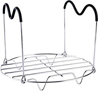 HapWay Steamer Rack Trivet with Heat Resistant Silicone Handles Compatible with Instant Pot 6 & 8 qt Accessories, Stainless Steel Steaming Rack Trivet Stand for Pressure Cooker