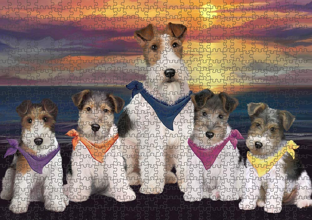 Family Sunset Portrait Wire Fox Terriers T Branded goods Puzzle Dog with Photo Popular overseas