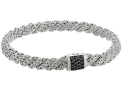 John Hardy Twist Chain Lava Flat Bracelet with Black Sapphire (Silver) Bracelet