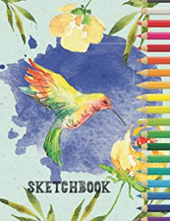 Sketchbook: Large Drawing Blank Notebook Journal with Date | Pretty Watercolor Hummingbird Cover | Great Gift for Budding ...