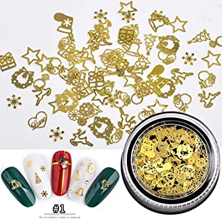 New Product !! 1 Box Nail Christmas Style Art Metal Nail Decorations Mixed Gold Slice Wheel Nail Jewelry Decoration For Nails (01)