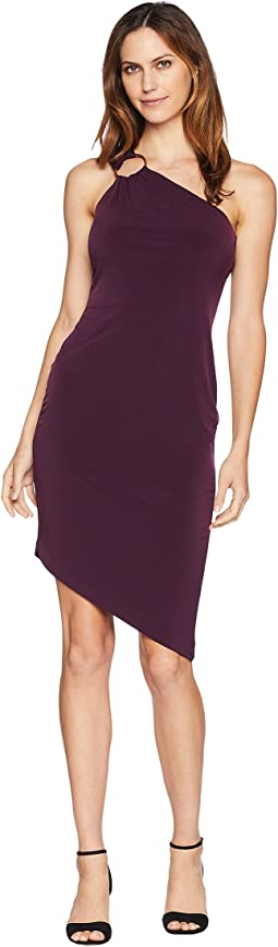 One Shoulder Jersey Dress with Hardware Detail CD8A13QA