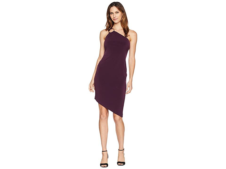 Calvin Klein One Shoulder Jersey Dress with Hardware Detail CD8A13QA (Aubergine) Women