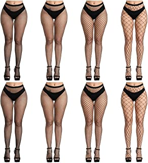 FEPITO 8 Pairs Fishnets Stockings Mesh Thigh High Pantyhose High Waist Fishnet Tights for Women