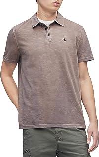 Men's Short Sleeve Slub Cotton Monogram Logo Polo Shirt