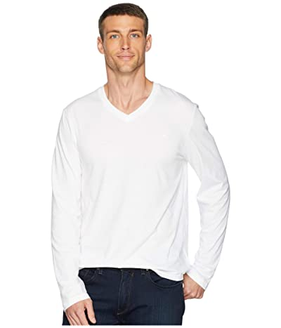 Calvin Klein Long Sleeve Jersey V-Neck T-Shirt (White) Men