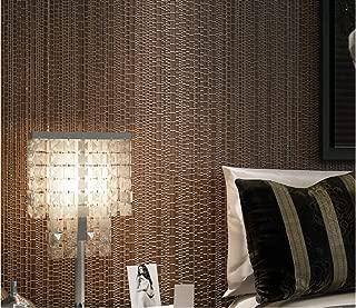 Papel Pintado No Tejido Moderno Simple - La imitación paja llanura,0.53x10m Marrón Oscuro para Dormitorio Salón Fondo De Tv De Pasillo De Habitación Infantil
