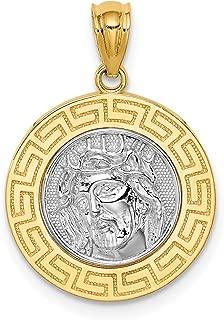 Lex & Lu 14k Yellow Gold w/Rhodium Jesus Medal Pendant LALC4710