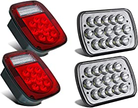 Partsam 38 LED Jeep Style Universal Tail Brake Turn Stop Licence Back up Lights + Rectangle H6054 Led Headlights 5x7 7x6 Headlamp Hi/Low Sealed Beam Replacement for Jeep Wrangler YJ XJ Cherokee Truck