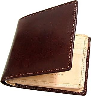 Maturi マトゥーリ プッチーニイタリアンレザー×日本製ヌメ革 二つ折財布 MR-018 ダークブラウン