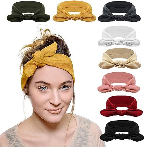 DRESHOW 8 Pièces Bandeau Cheveux pour Femme Boho Bandeaux Elastique Tête Enveloppe Cheveux Accessoires