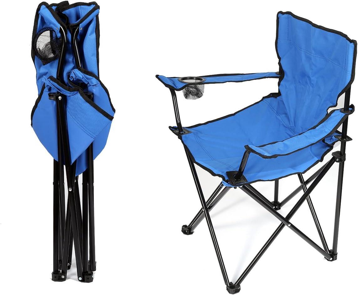 Bleu env Chaise de p/êche Lot de 2 Chaises Pliantes Chaise de Camping avec Porte-Boisson 50 /× 50 cm 130 kg Charge Max Fauteuils metteur en sc/ène Pliable