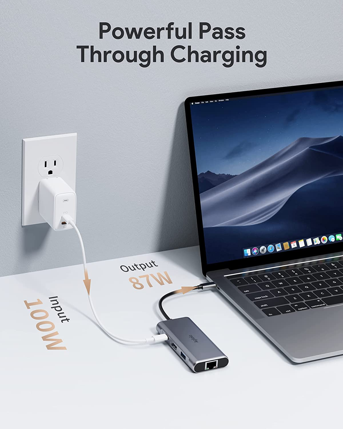 USB C Hub, Aglaia 6-in-1 Type C Adapter with 100W USB-C Power Delivery, Gigabit RJ45 Ethernet Port, 4K HDMI, 3 USB 3.0 Data Ports, Portable for MacBook Pro/Air, iPad Pro, XPS and Other Type C Devices