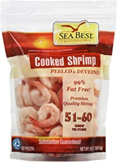Sea Best 51/60 Cooked Peeled and Deveined Tail On Shrimp, 16 Ounce