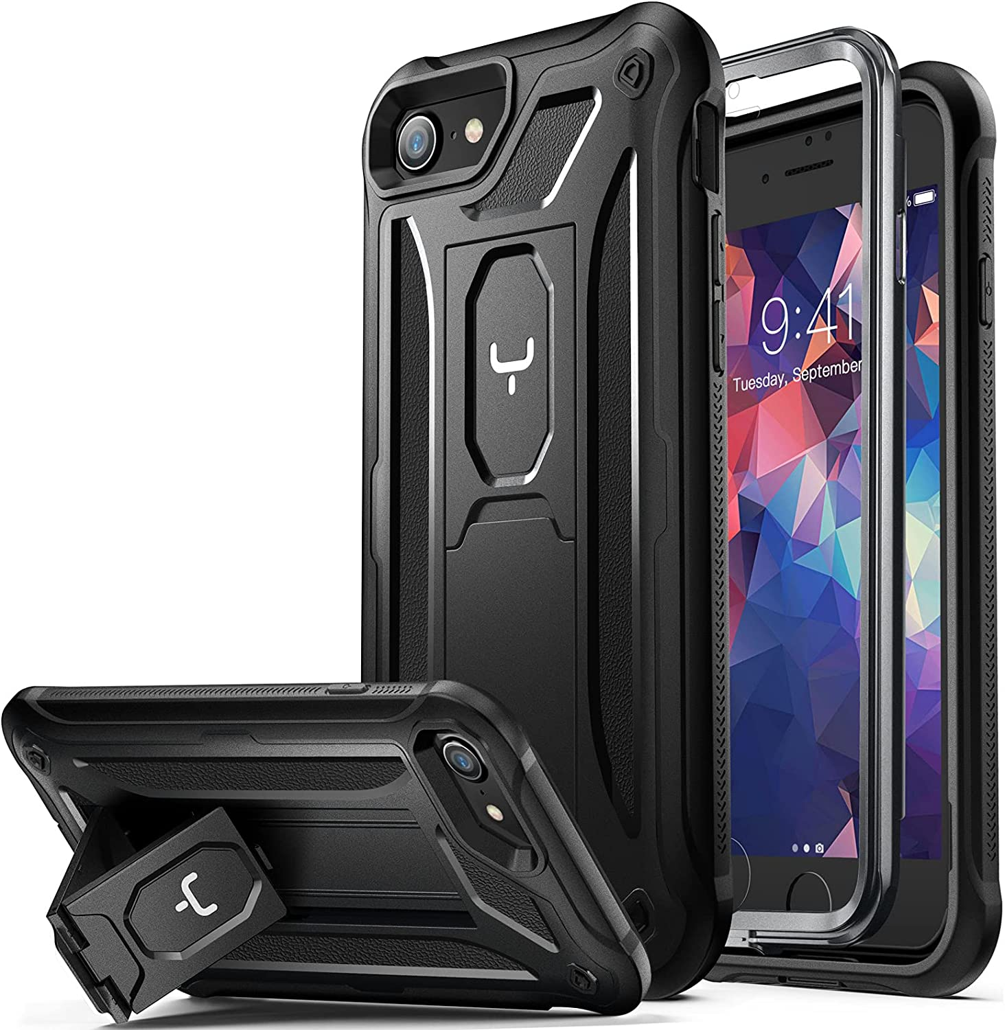 YOUMAKER [2021 Upgraded] iPhone SE 2020 Case, iPhone 8 Case, iPhone 7 Case, Built-in Screen Protector Kickstand Full Body Heavy Duty Shockproof Cover for iPhone SE & iPhone 8/7 4.7 inch - Black