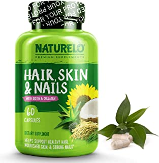 NATURELO Hair, Skin and Nails Vitamins - 5000 mcg Biotin, Natural Collagen, Organic Vitamin C - Best Supplement for Faster Hair Growth for Women - Hair Loss Treatment for Men – 60 Capsules