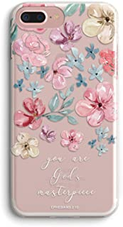iPhone 7 Plus/iPhone 8 Plus Girls Women Case,Cute Blooms Spring Roses Pink Floral Flowers Bible Verses Inspirational Quotes God's Masterpiece Chic Clear Soft Case Compatible for iPhone 8 Plus/7 Plus