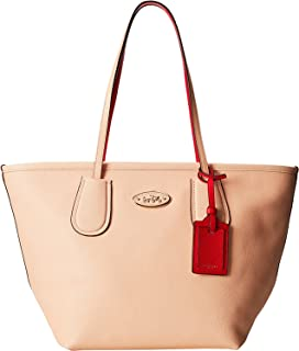 Colorblock Leather Taxi Zip Tote - Apricot & Coral
