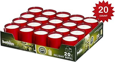Bolsius Set Of 20  Relight Party, Restaurant Votive Candles In Red Cup Burns Aprox. 24 Hour