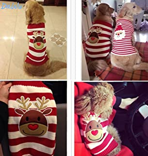 Topdo Pet Supplies Christmas Pet Clothes Elk Reindeer Striped Pet Sweater Knitwear Dog Pet Puppy Thermal Warm Jumper Knit Sweater Clothes Coat Costumes Small Medium Large
