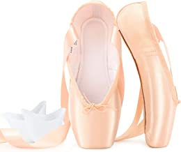 Sponsored Ad - tanzdunsje Ballet Pointe Shoes Pink Professional Dance Shoes with Sewn Ribbon and Silicone Toe Pads for Gir...