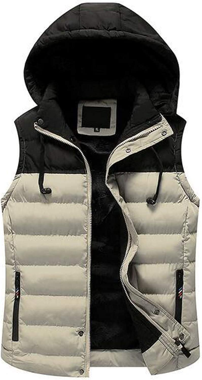 Sleeveless Down Vests for Men With Detachable Hood Outwear Coat Waterproof Casual Sports Winter Outwear Jacket