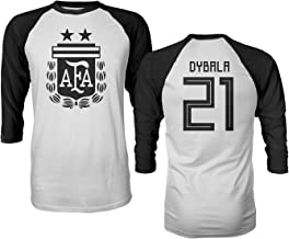 Tcamp Argentina 2018 National Soccer #21 Paulo DYBALA World Championship Men's Quarter Sleeve Raglan T-Shirt