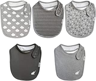 Budding Bear Premium Snap Bibs (Pack of 5) - 100% Organic Cotton Front and Absorbent Towel Backing - Organic Bibs for Girl...