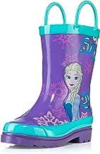 Disney Kids Girls' Frozen Anna and Elsa Character Printed Waterproof Easy-On Rubber Rain Boots (Toddler/Little Kids)