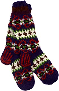 Paper High, Calcetines de lana Makalu de punto a mano, color morado, verde y naranja