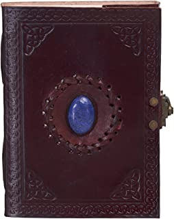 KPL Antique Vintage Handmade Embossed Leather Stone Journal Diary Notebook W/Clasp Lock & Handmade Paper