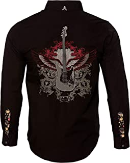 Men's 'Guitar Wings' Embroidered Long Sleeve Button Down Black Shirt 702B