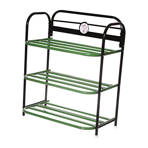 Archana Multipurpose Green Iron Rack with 3 Shelves (for Keeping Toys, Shoes etc)