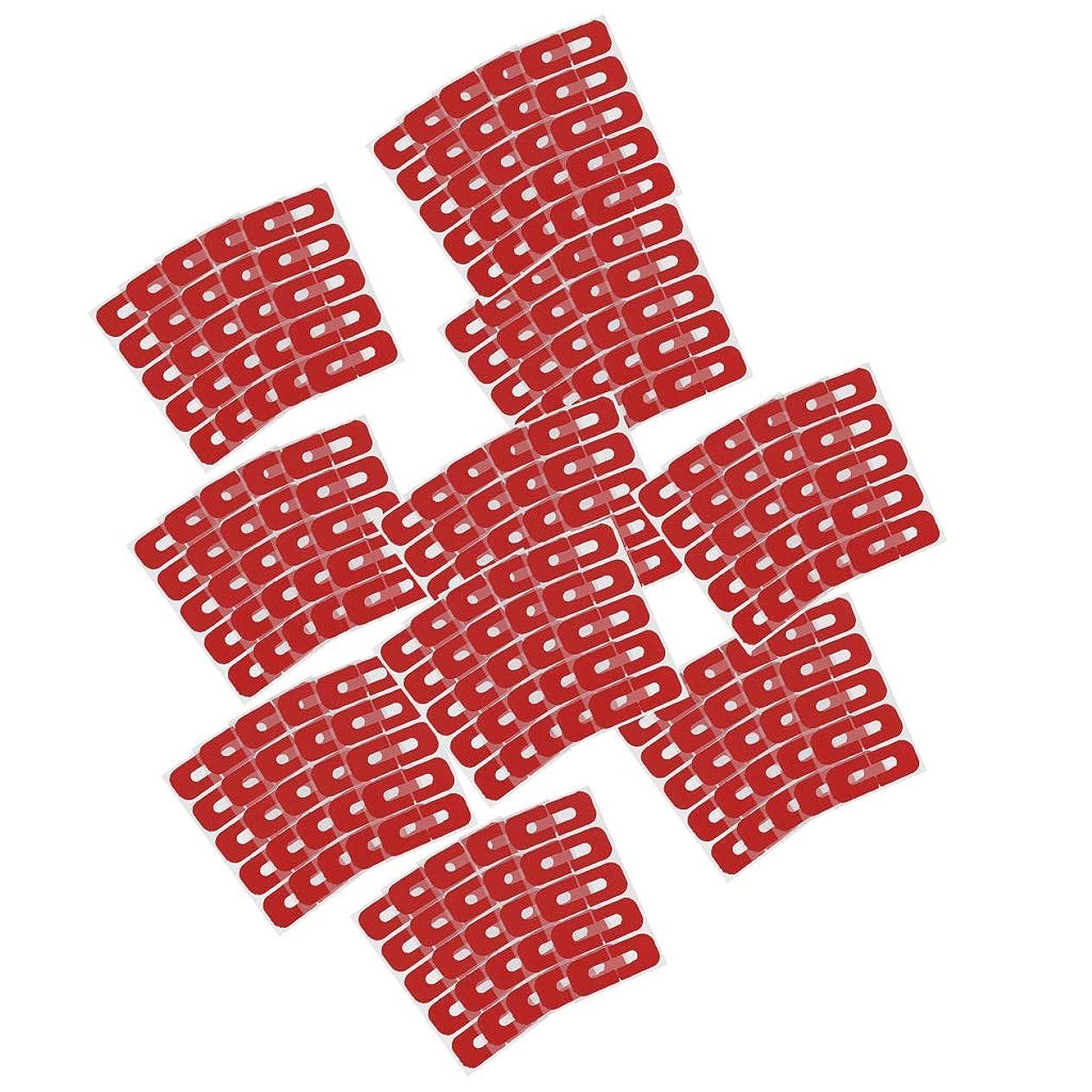 ひまわり系譜同封する50ピースレッド使い捨てピールオフテープネイルアート流出防止スキンバリアポリッシュプロテクターカバーガード