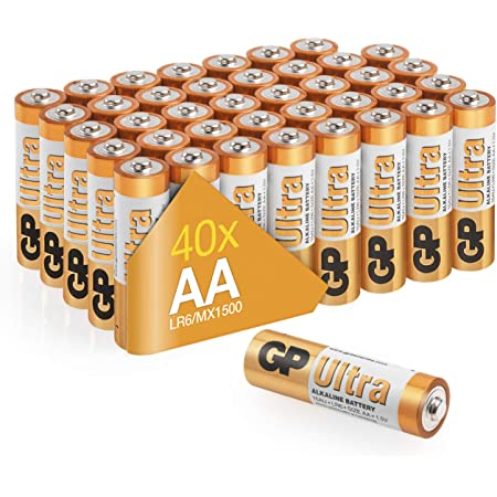 AA Batteries pack of 40 by GP AA Batteries Ultra Alkaline - 10 year shelf life, ideal for everyday hungry devices, long lasting power, anti-leakage technology | also known as LR06, MN1500, 15A, AM3