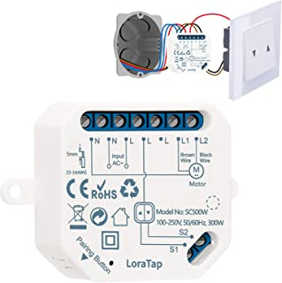 LoraTap Interruptor Persianas WiFi, Relé de Persianas Temporizador Inteligente para Cortina Eléctrica, Control Remoto por ...