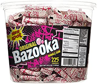 Bazooka Individually Wrapped Bubble Gum, Original Flavor, 225 Count Back to School Bulk Tub