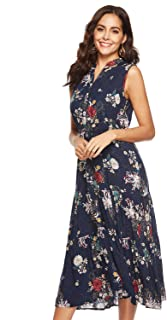 Womens Button up Split Dress Sleeveless Dresses Bohemian Floral Print Flowy Party Midi Dresses