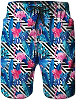 Men's Hawaiian Beach Shorts 3D Printed Swim Trunks Quick Dry Surf Bathing Suit