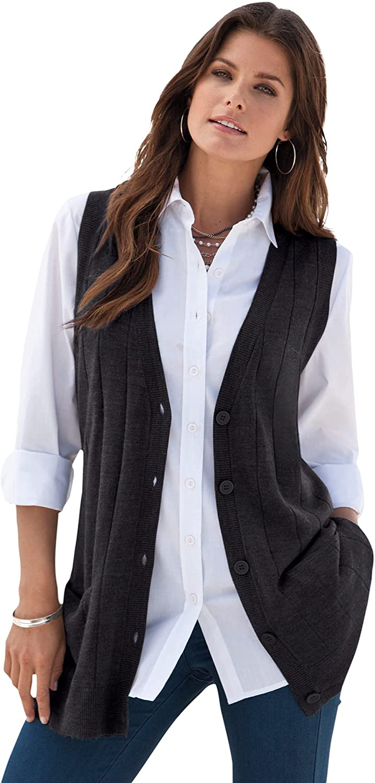 Roamans Women's Plus Size Fine Gauge Drop Needle Sweater Vest