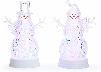 Happy Snowman LED Light Up 10 Inch Acrylic Christmas Tabletop Figurines Set of 2