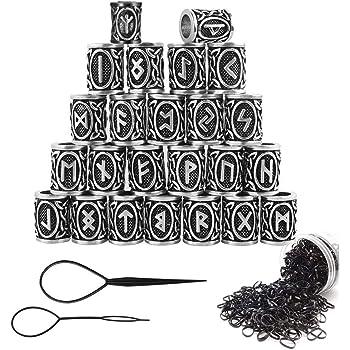 Nsiwem Abalorios barba 24 Piezas Abalorio de runas vikingas Plateado Barba Pelo Cuentas Viking Runa Perlas con Bandas De Goma Negras para Pulsera Barba rastas