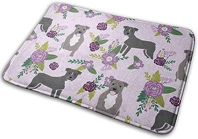 """Pitbull Floral Dog, Dog, Floral, Dog Florals, Dog, Pitbull Florals, Purple_19214 Doormat Entrance Mat Floor Mat Rug Indoor/Outdoor/Front Door/Bathroom Mats Rubber Non Slip 23.6"""" X 15.8"""""""