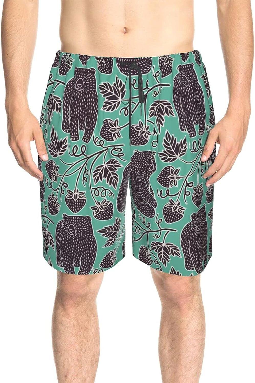 JINJUELS Men's Swim Shorts Wild Bear Strawberry Beach Board Shorts Fast Dry Fashion Summer Beach Shorts with Mesh Lining