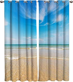 Crystal Emotion Blackout Curtain Window Drapes Thermal Insulated Curtains 2 Panels, Beach Themed Room Darkening for Living Room Bedroom Window Treatments 40x63inch