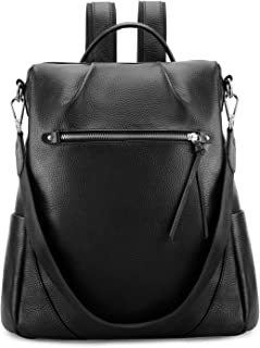 Kattee Leather Backpack Purse for Women Anti-Theft Rucksack Shoulder Bag(Black)